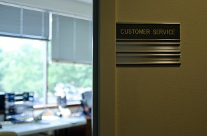 photo of customer service name plate